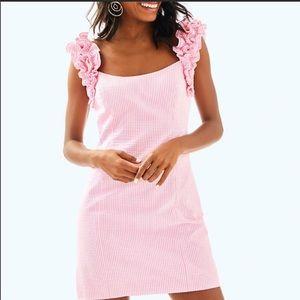 Lilly Pulitzer Seersucker Striped Pink/White Dress
